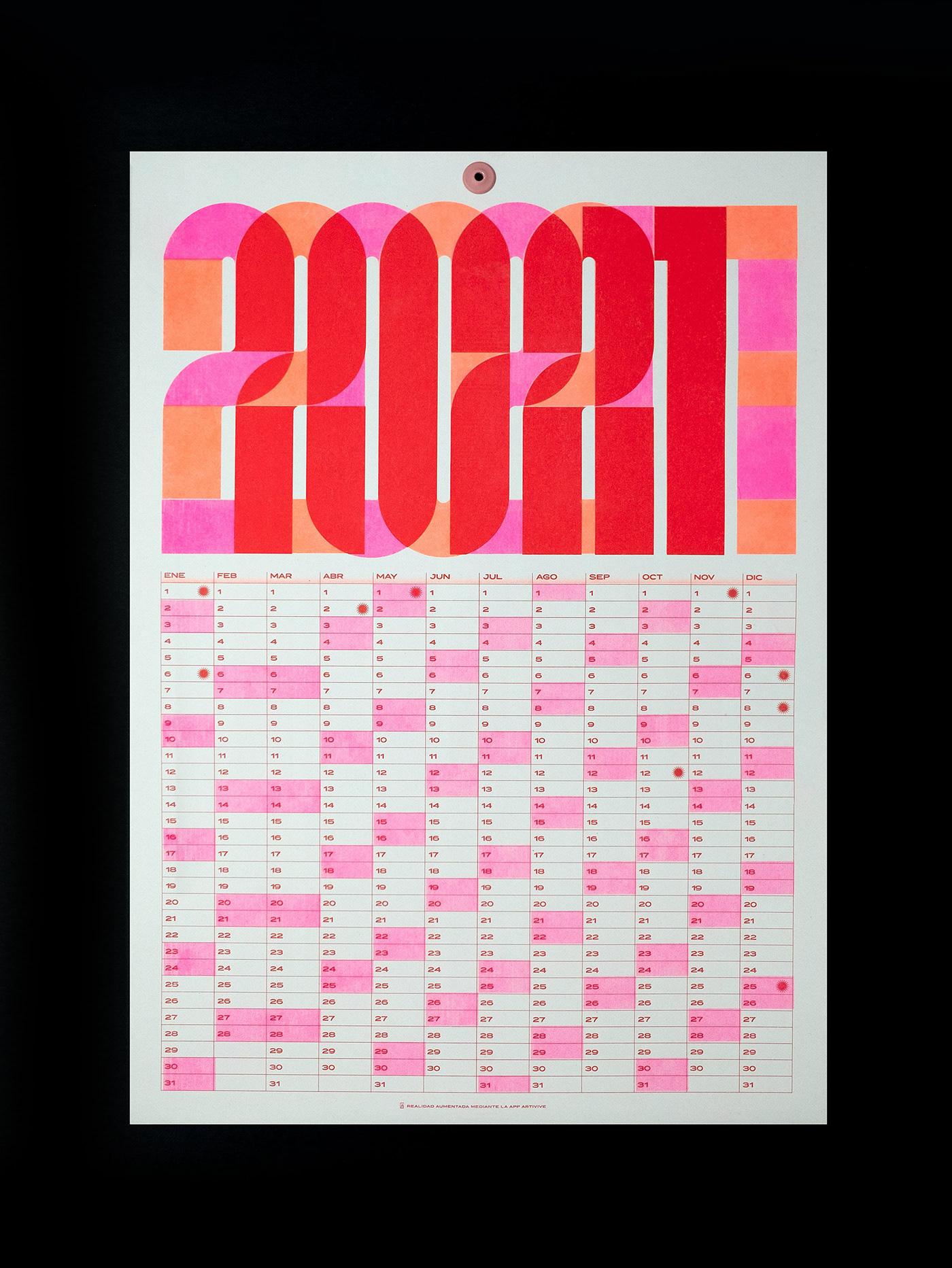 2021 calendar calendar print risografia risograph