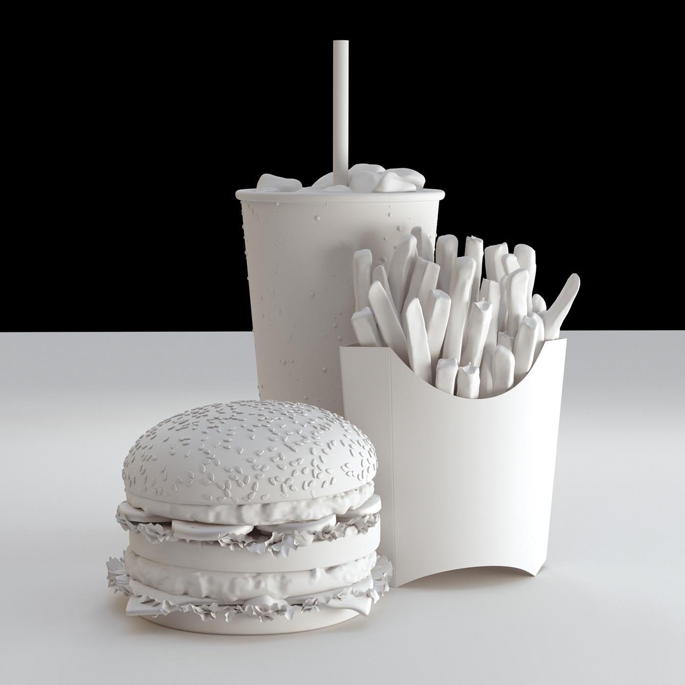 McDonalds bigmac burger 3D CG postproduction retouching  Render