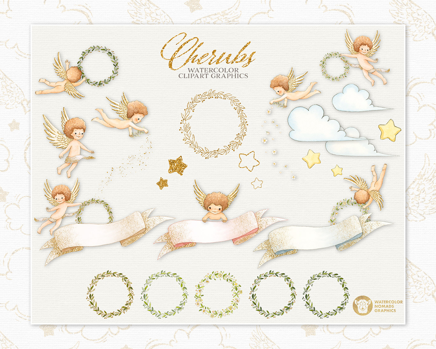 cherub illustration kids illustration childrens illustration baby angels watercolor and ink party stationery design Baby Textile  baby clothing watercolor graphics