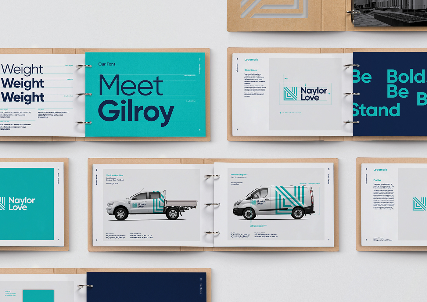 branding  construction company naylor love identity logo minimal grid Layout guidelines brand guidelines