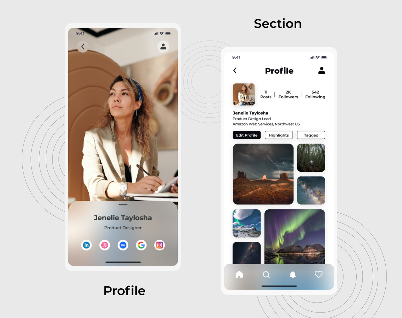 DailyUI designui profile profilesectionui UI uidesign uiideas uiinspiration UserInterface ux