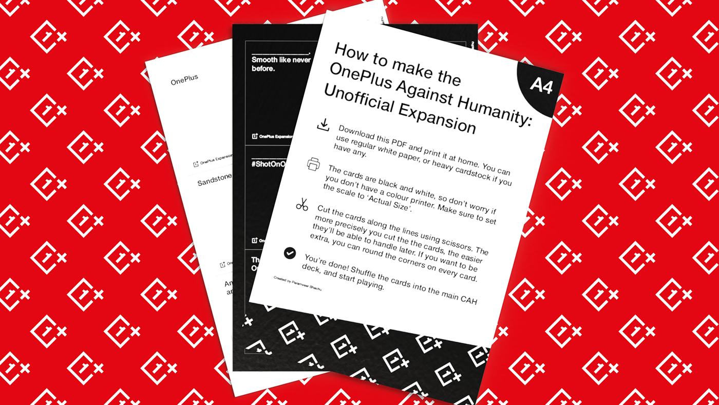 The OnePlus Against Humanity printed sheets.
