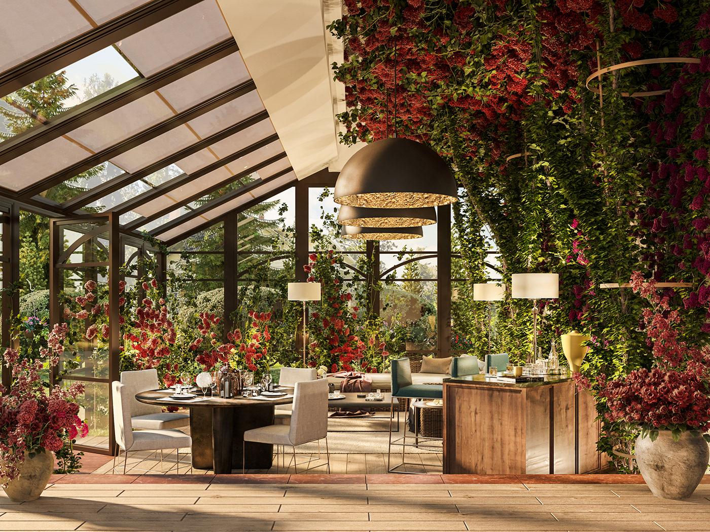 Interior design architecture terrace porch vegetation Flowers Landscape furniture light