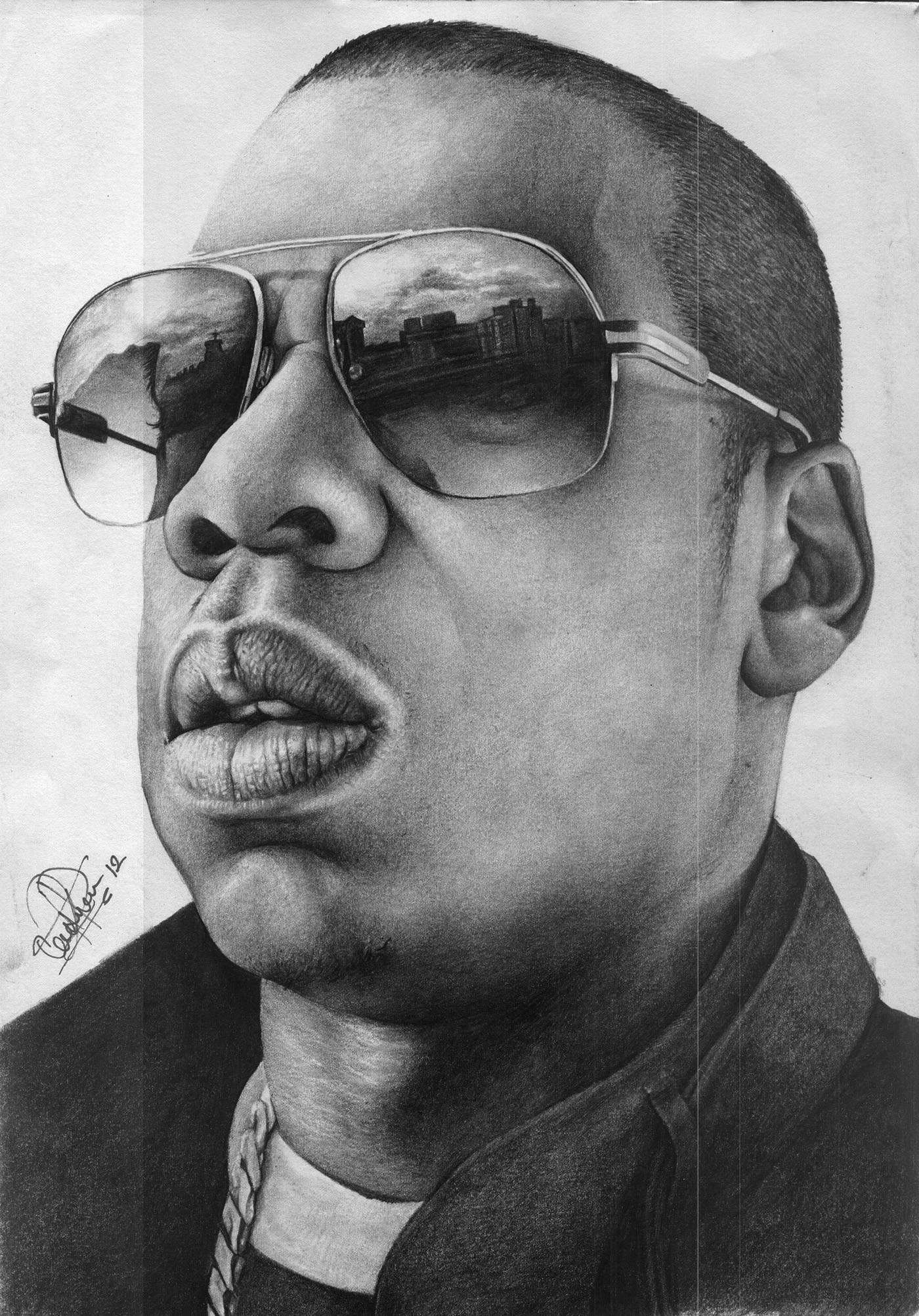 My pencil drawing of shawn corey carter aka jay z one of the best rappers ever i used 6b and a 4b graphite pencil and an acid free paper