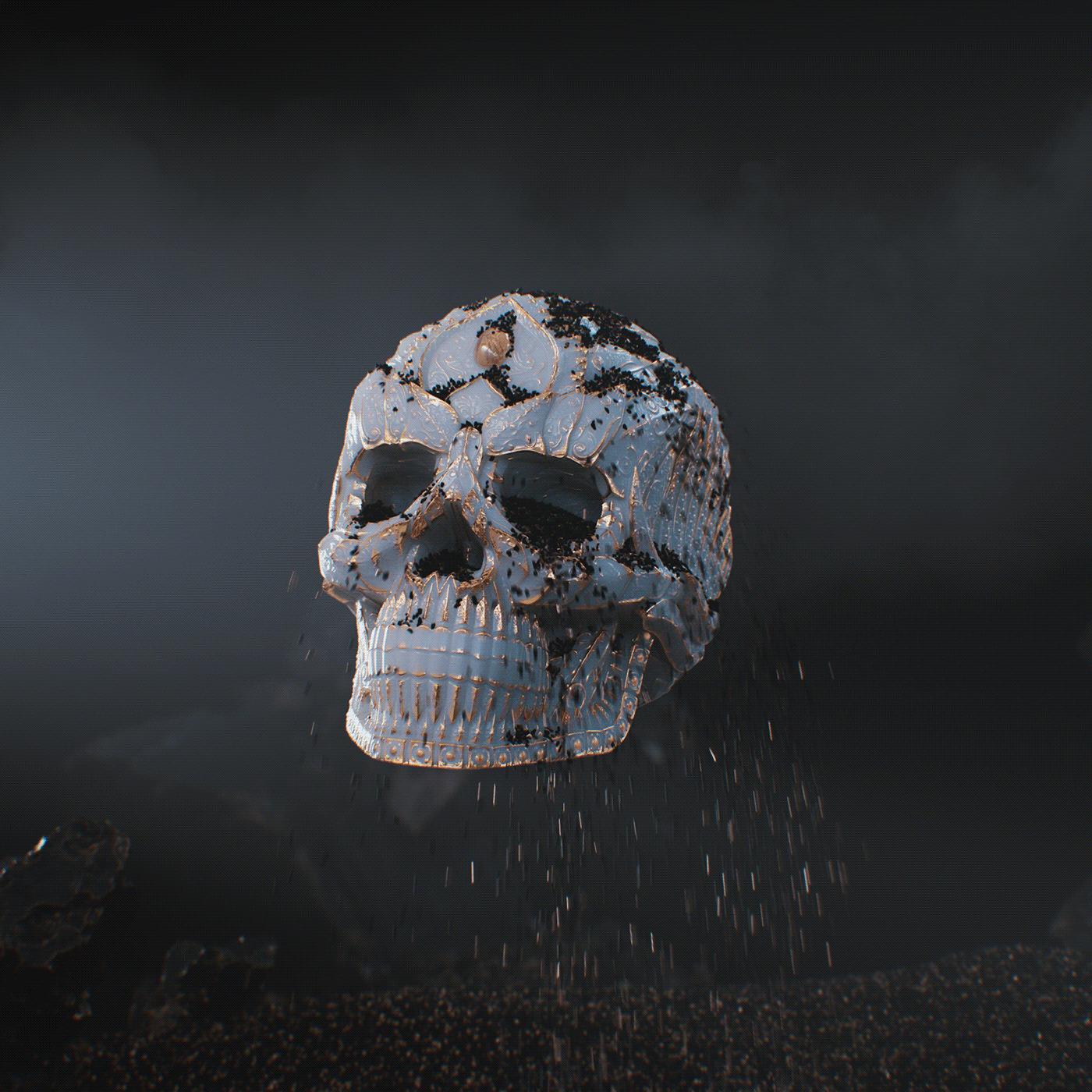 amuerte ArtDirection black BlackFriday branding  cocagin luxury simulation skull Socialmedia