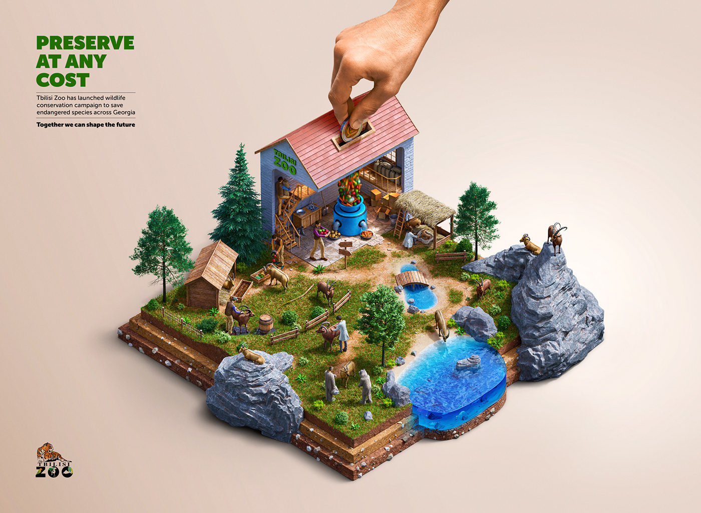 zoo animals 3D retouching  money box poster ILLUSTRATION  art concept art Creative Direction