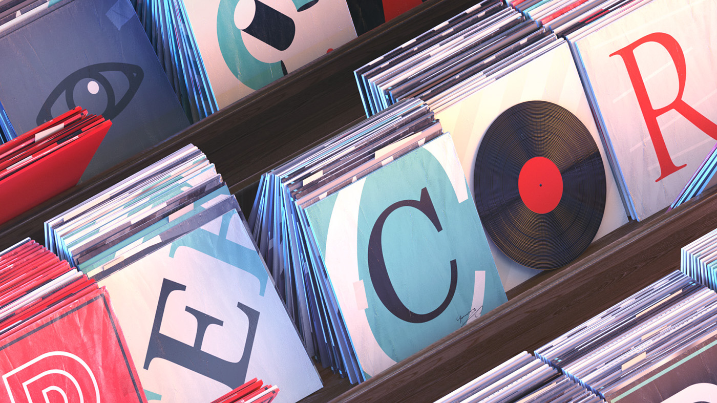 3D Records ILLUSTRATION  cinema4d Isometric octanerender   c4d music Record Store Day