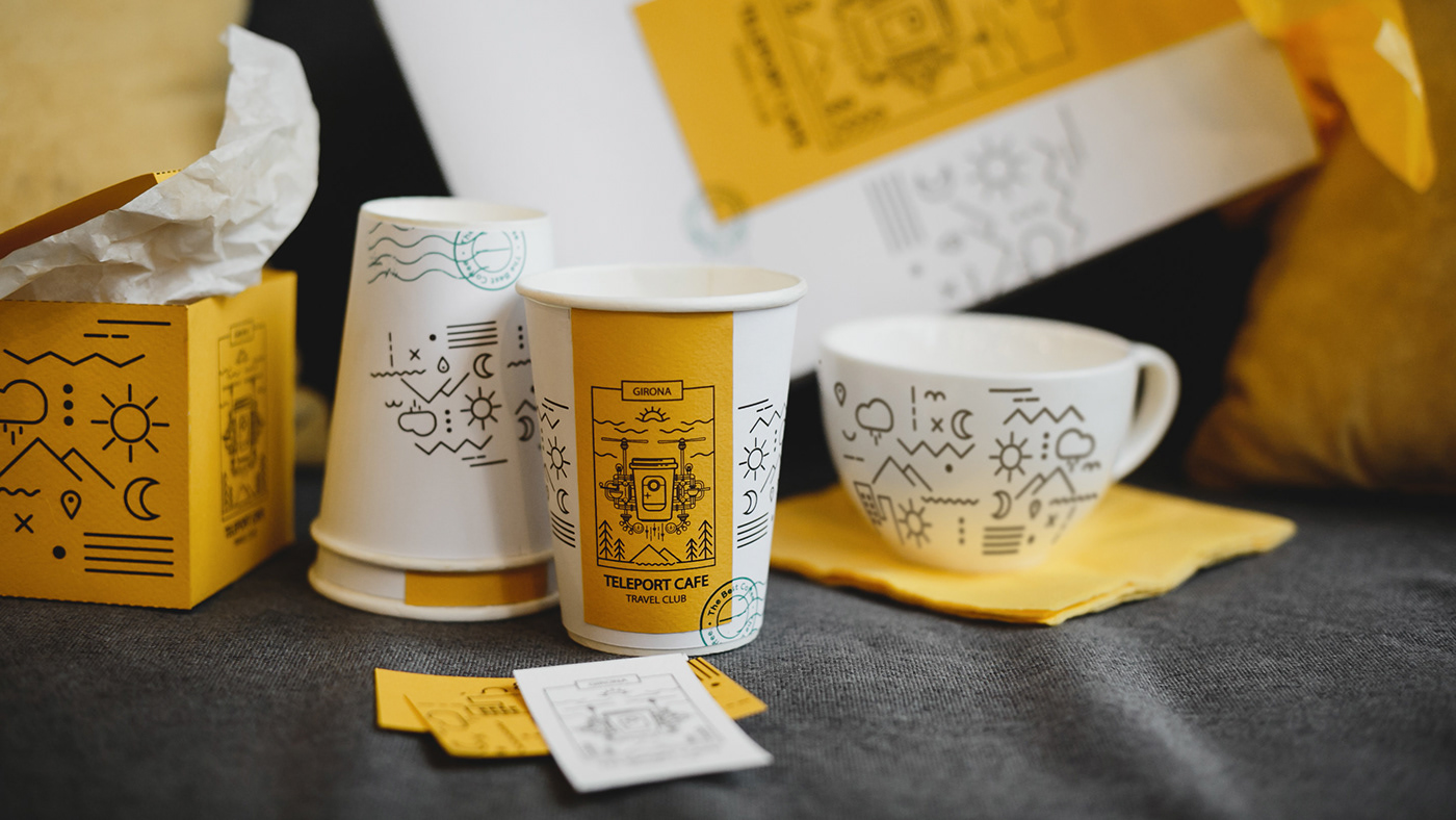 Travel cafe cofee shop branding  logo design TELEPORT CAFE. franchising aiga graphic identity