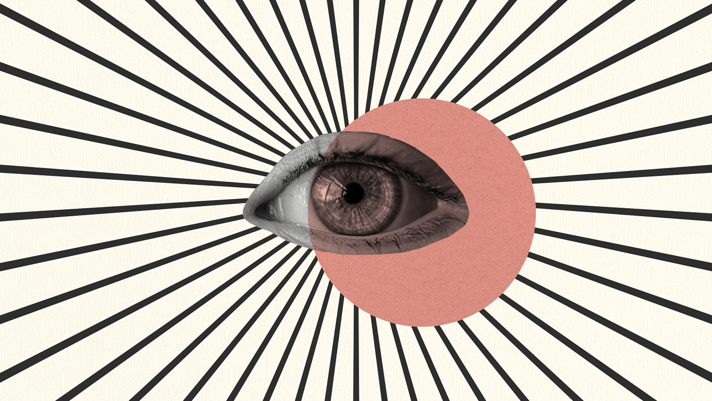 Collage of an eye superposed by a pink circle with diagonal lines coming out from the eye