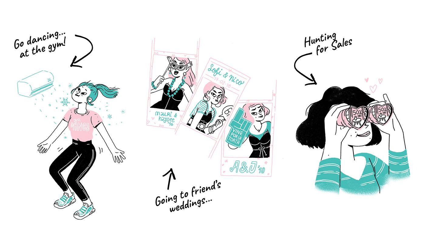 30yearold editorial Editorial Illustration Girl Magazine Magazine illustration Pink & Teal pink&teal women