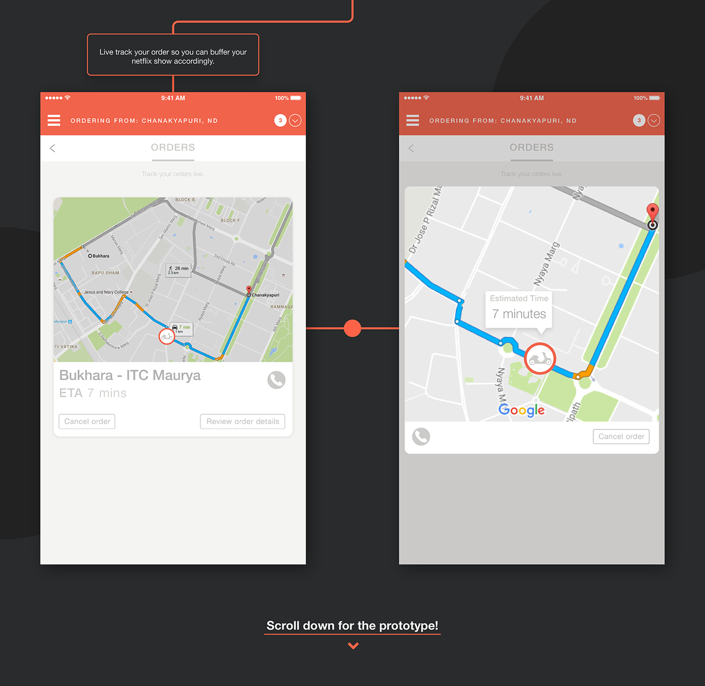 Food  delivery app application user interface user experience zomato orange adobeawards