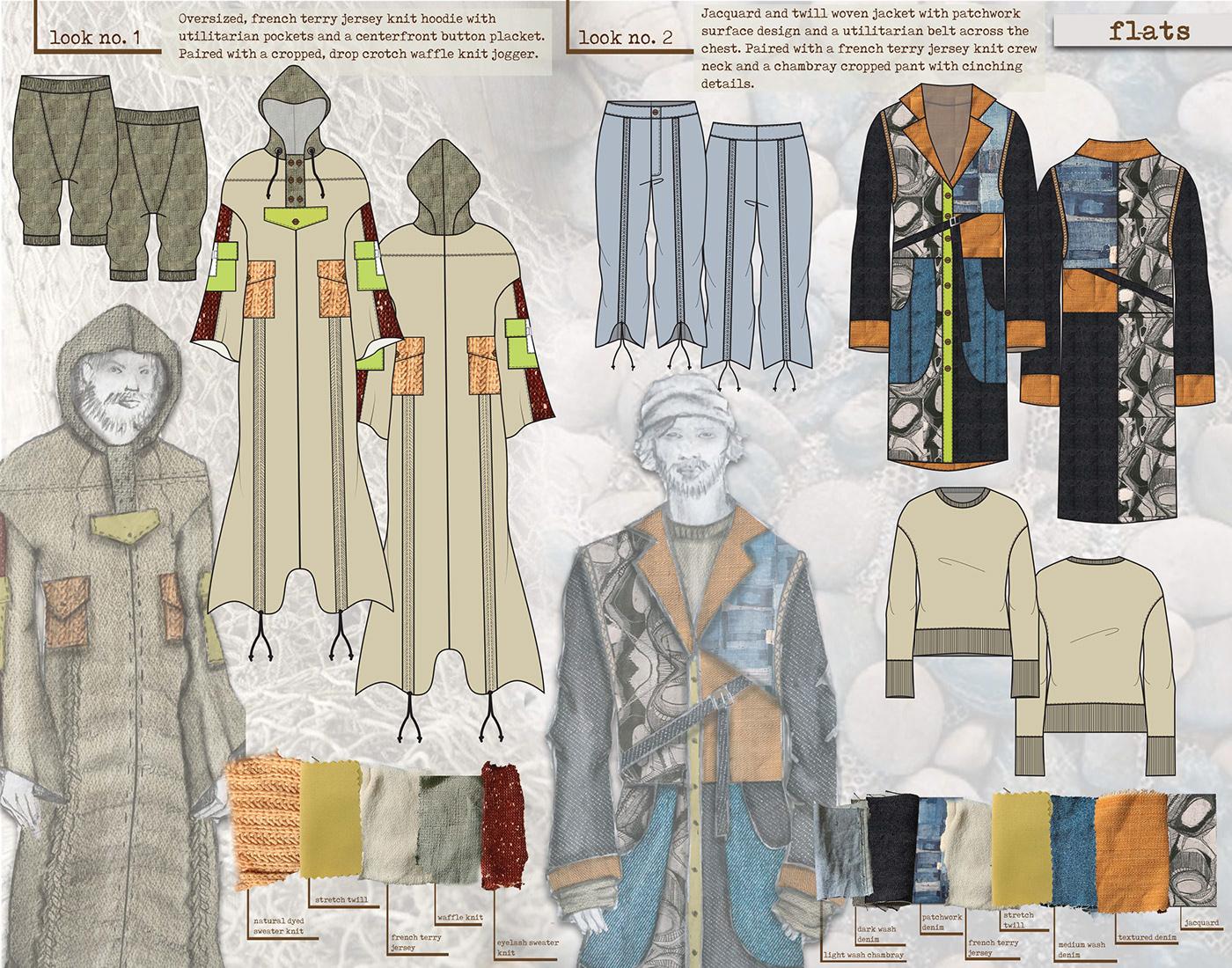 Childrenswear color story concept development Fabric Board fashion design fashion illustration hand rendering Menswear technical flats