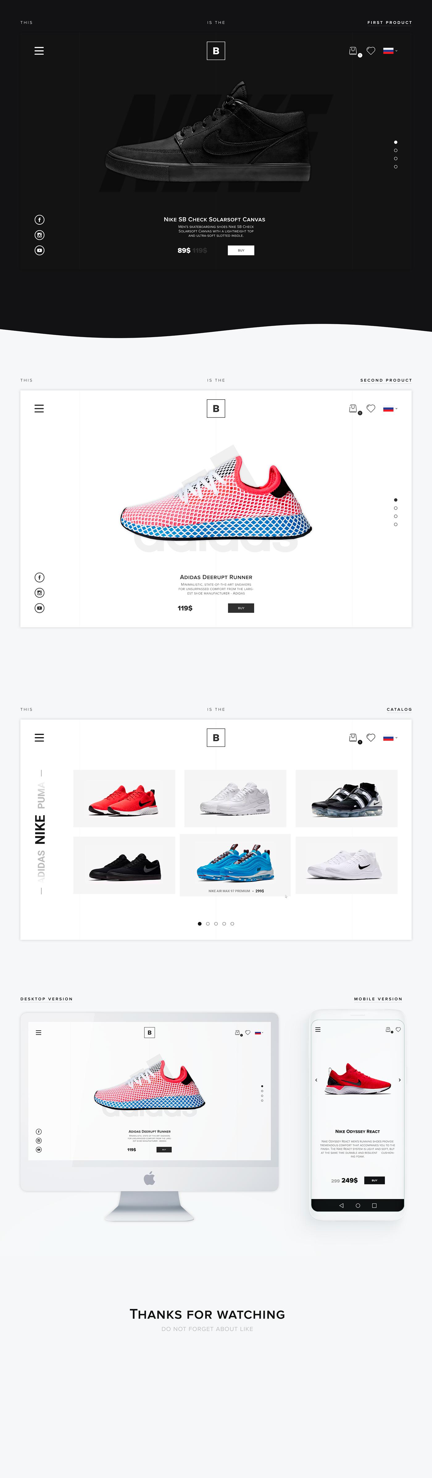 brand shoes shop clothes web-design Fashion  site