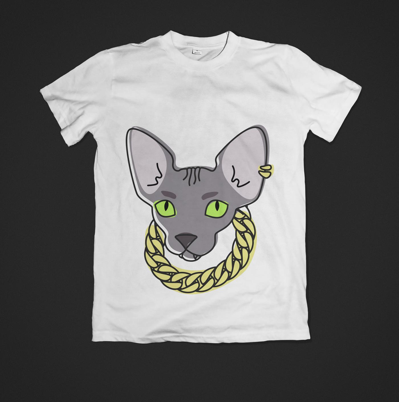 t-shirts t-shirt ILLUSTRATION  FOX Cat Clothing Illustrator