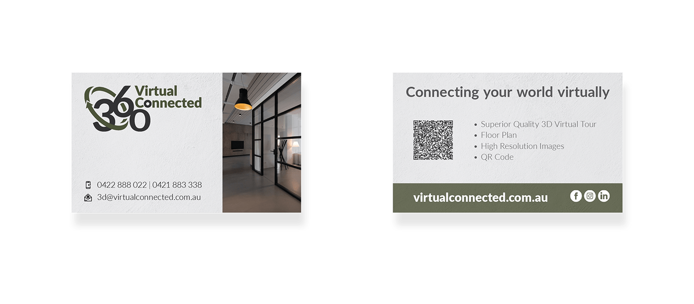 A4 page brochure flyer Virtual Connected business card editorial stationary range