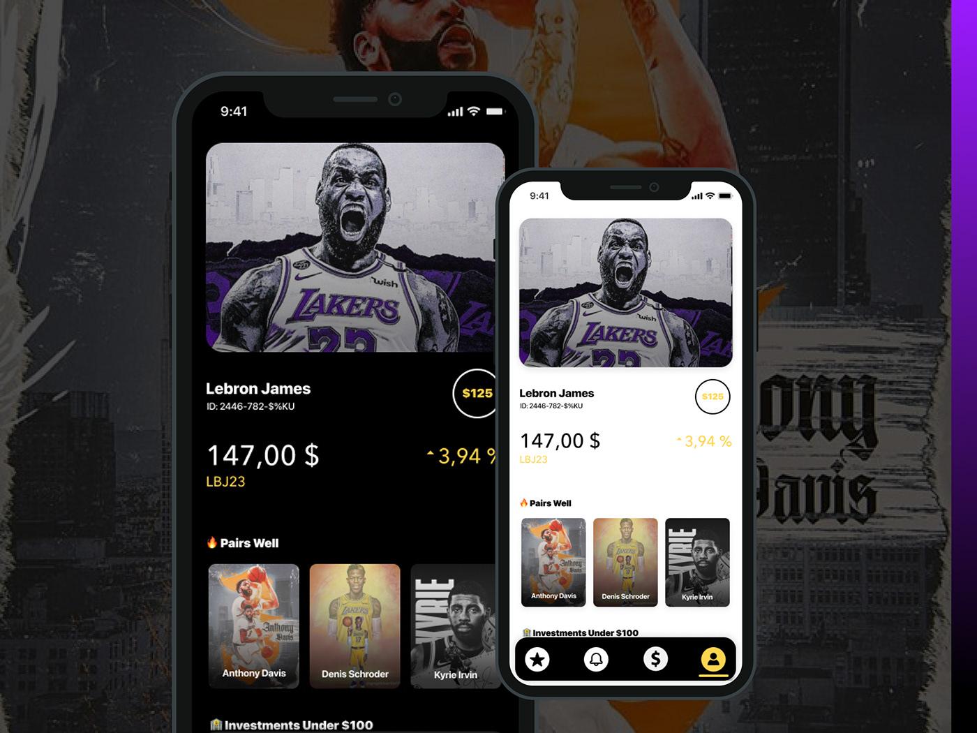 dark mode Fintech investment app light mode Mobile app product design  Sports App ui design UX design UX Research