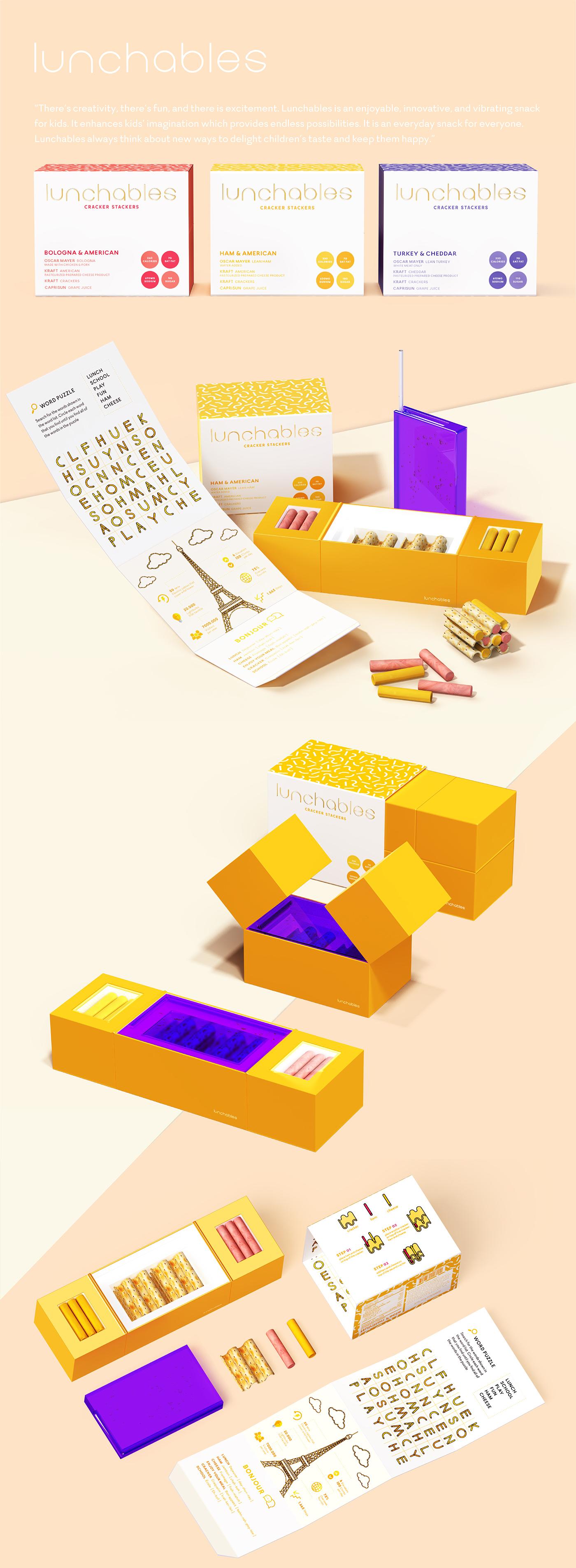 lunchables,Packaging,rebranding,branding ,color,dieline,ham,photoshoot,graphic,adobeawards