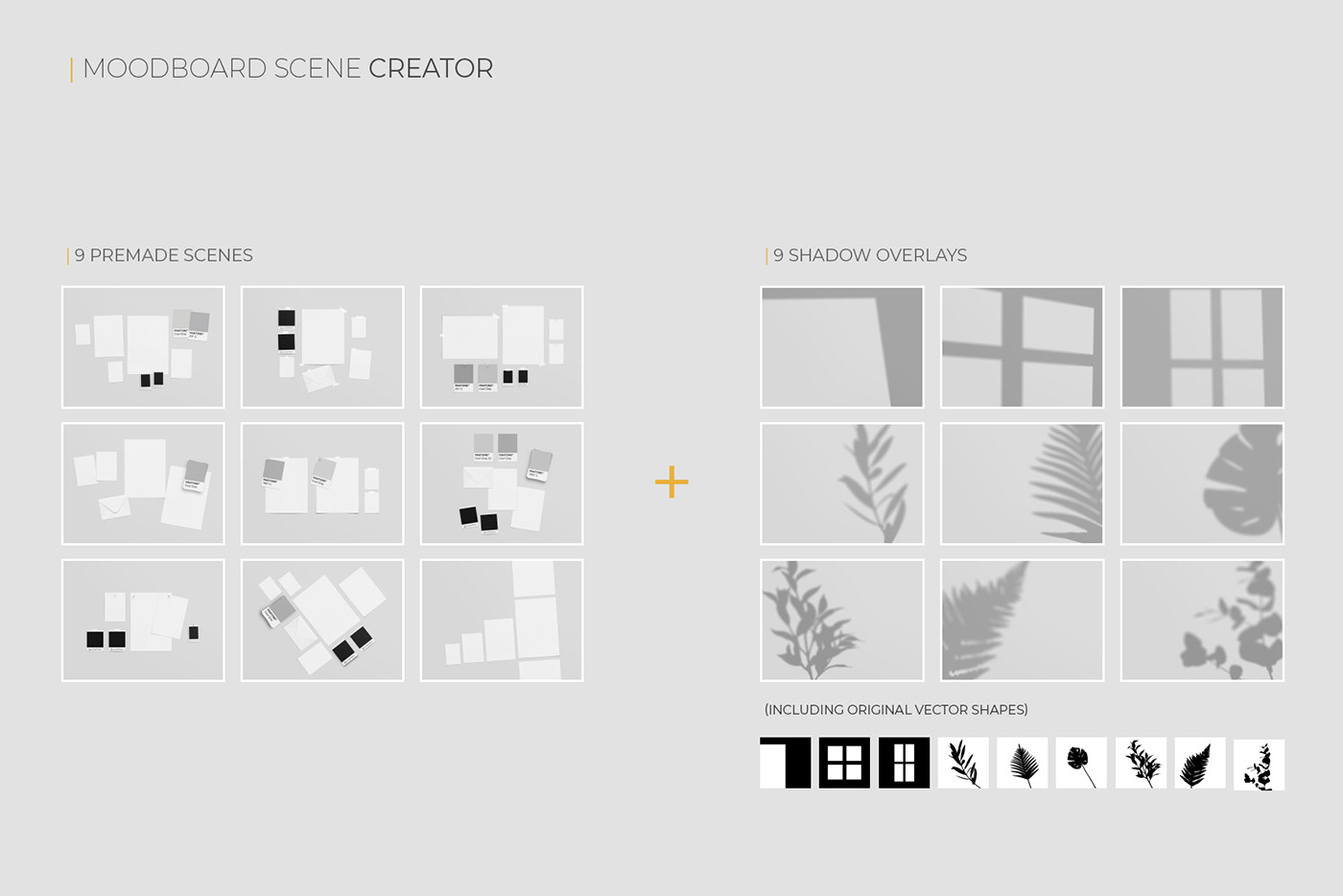 creator editable free Mockup moodboard objects papers premium psd scene