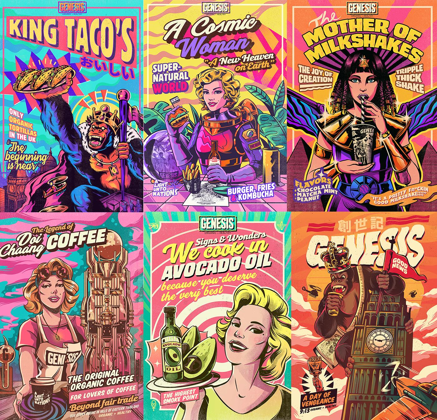 vegan Retro vintage comic style colorful Space