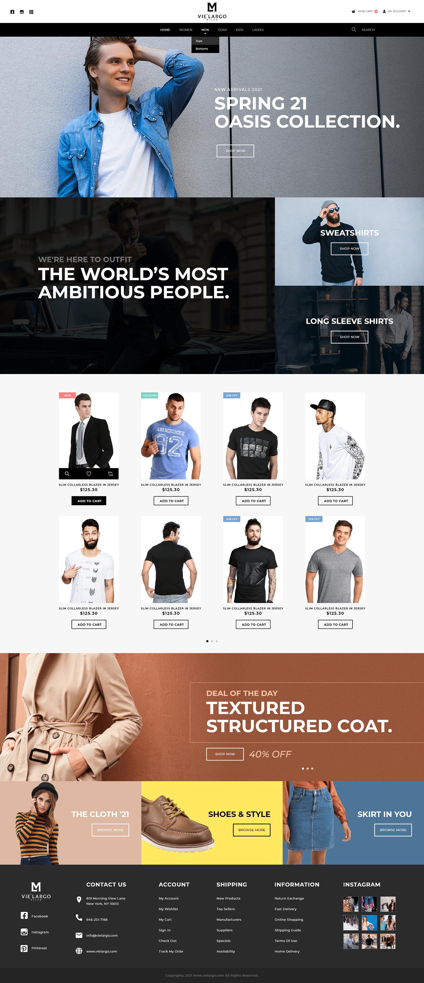 Black and white theme Clothing website design designer wear Fashion  Fashion Website Design men's clothing minimal website design
