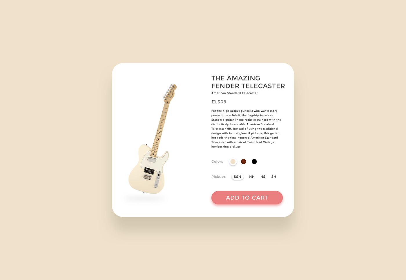 product daily ui UI ux motion Ecommerce fender guitar design Web