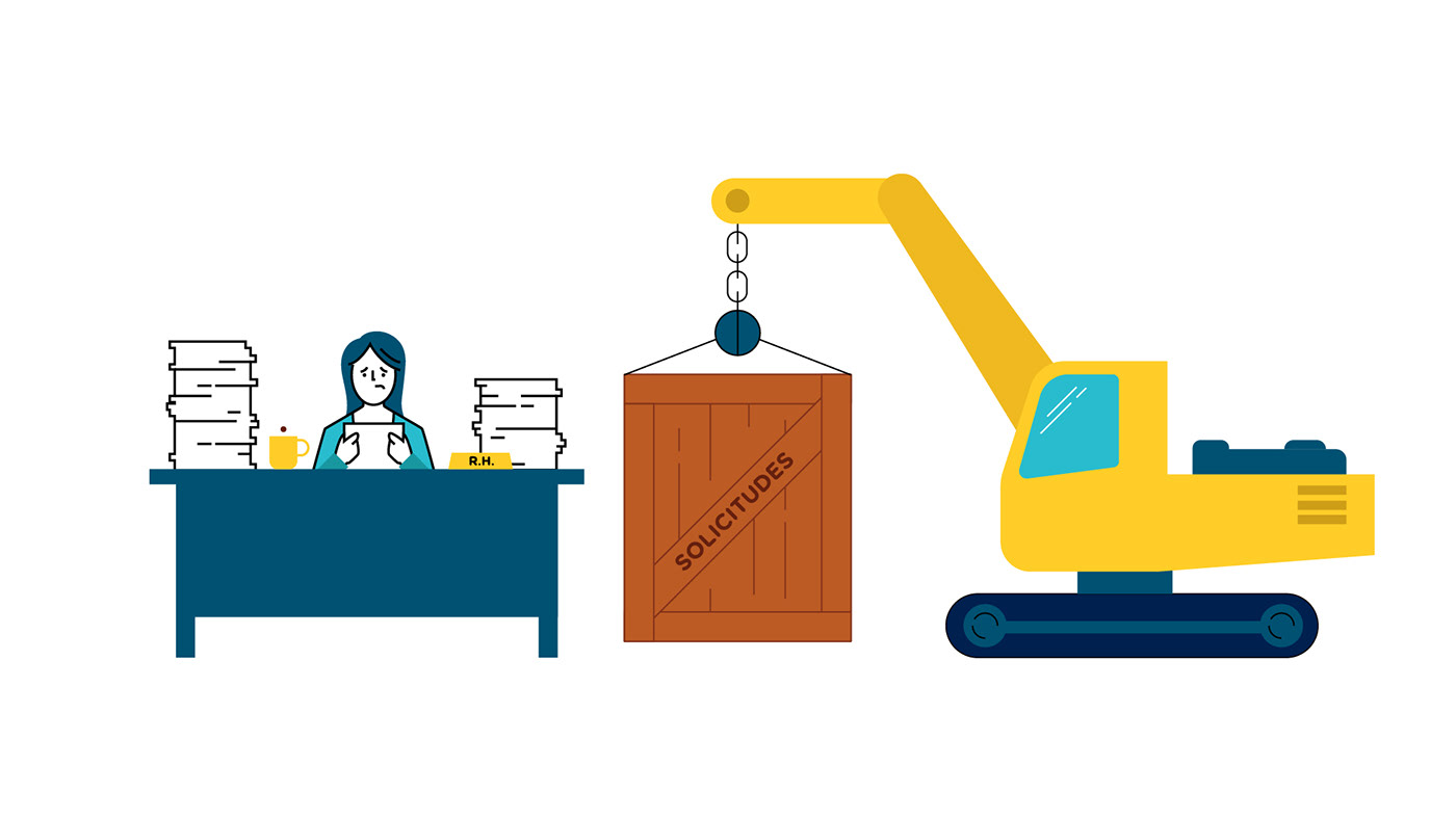 motion graphics  vector robot character animation iconography icons network buildings Workers introduction