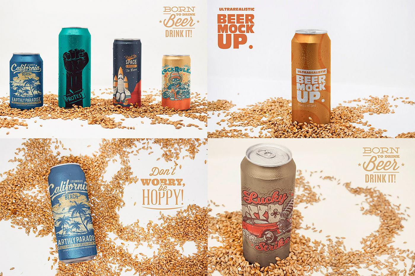 beer bundle can edit metal mock-up Mockup photo psd soda