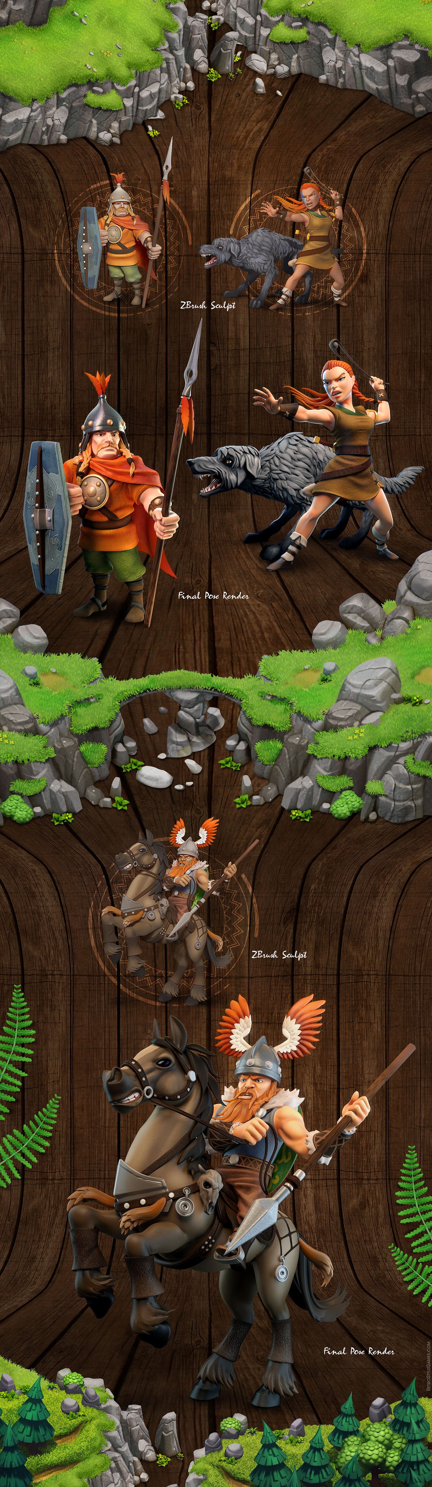 ISO Isometric Character lowpoly animations Clash clans Celtic tribes indie