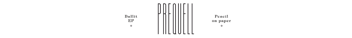 Prequell Violaine & Jeremy Drawing  type font pencil black and white scutlpture construction
