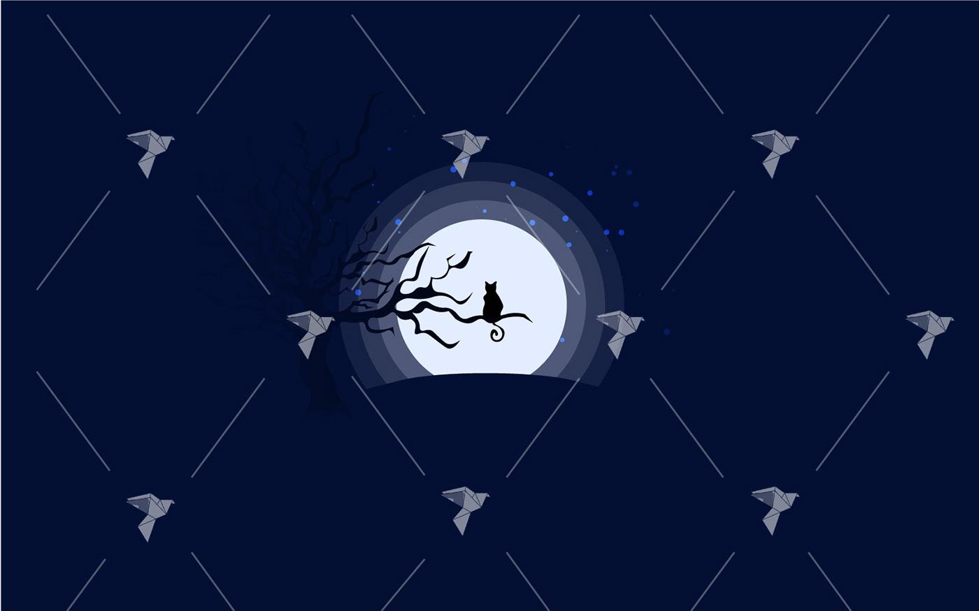 Cat dark felin ILLUSTRATION  Illustrator moon moonlight night Pet Tree