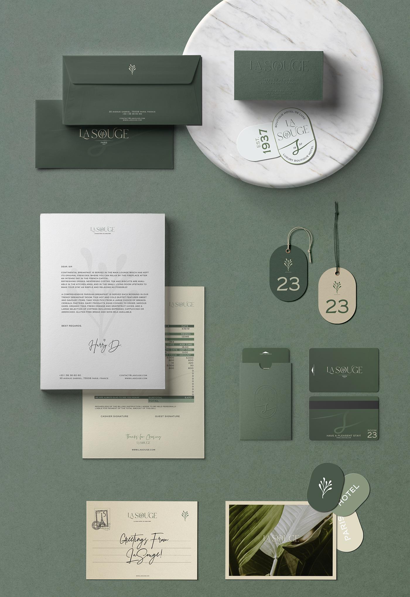 boutique brand identity concept hotel Logotype luxury Paris Spa visual identity restaurant