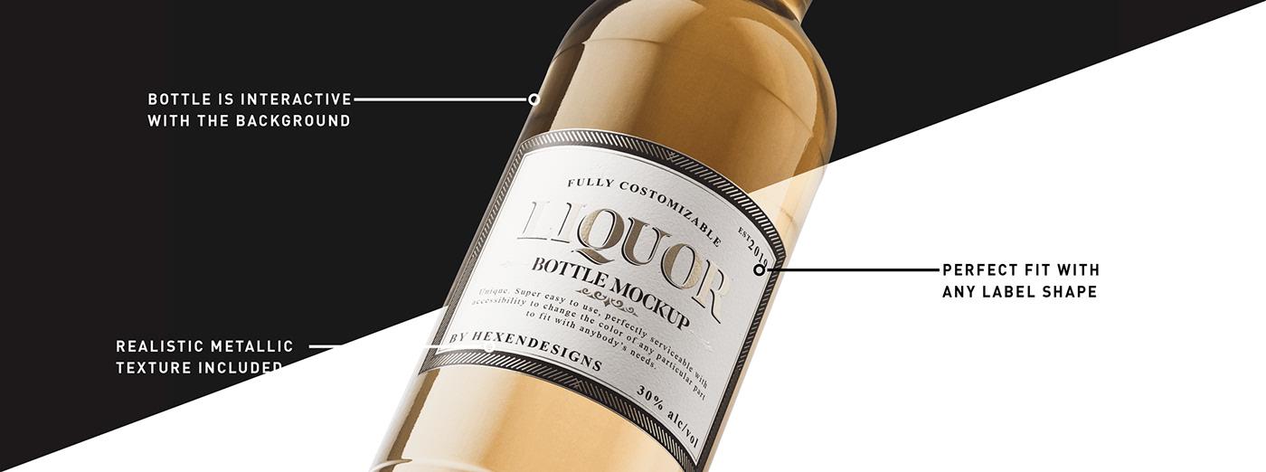 liquor bottle Mockup liquor bottle mockup alcohol Whiskey wine spirite bottle branding  glass