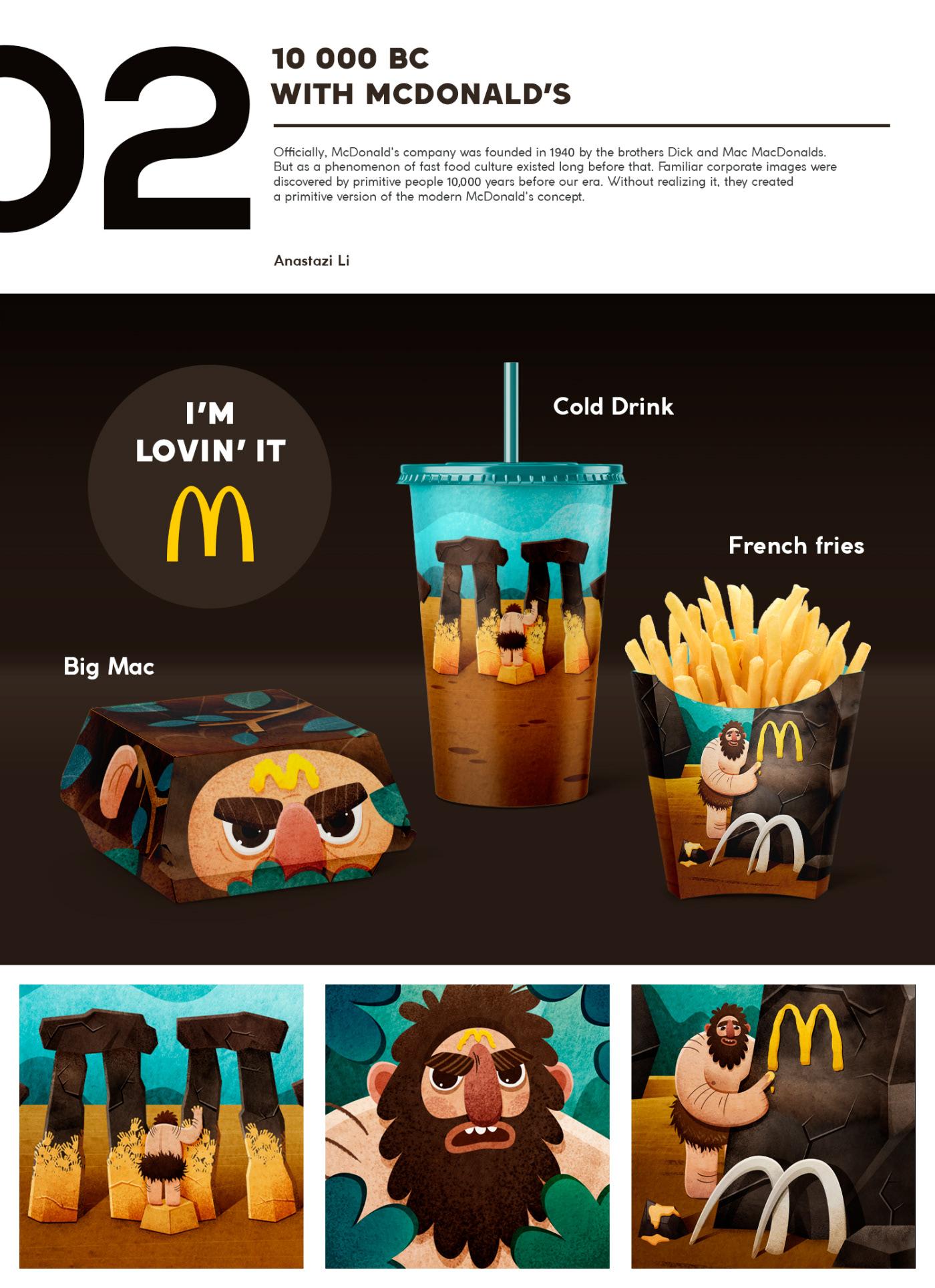 design drink Food  ILLUSTRATION  McDonalds package Packaging Character design  graphic Pack