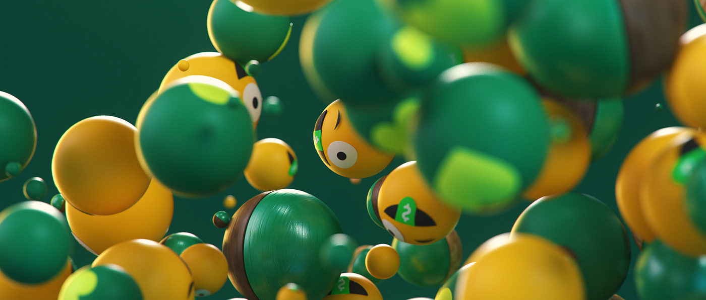 3D colorful geometric green monotone motiongraphics neon particle Render