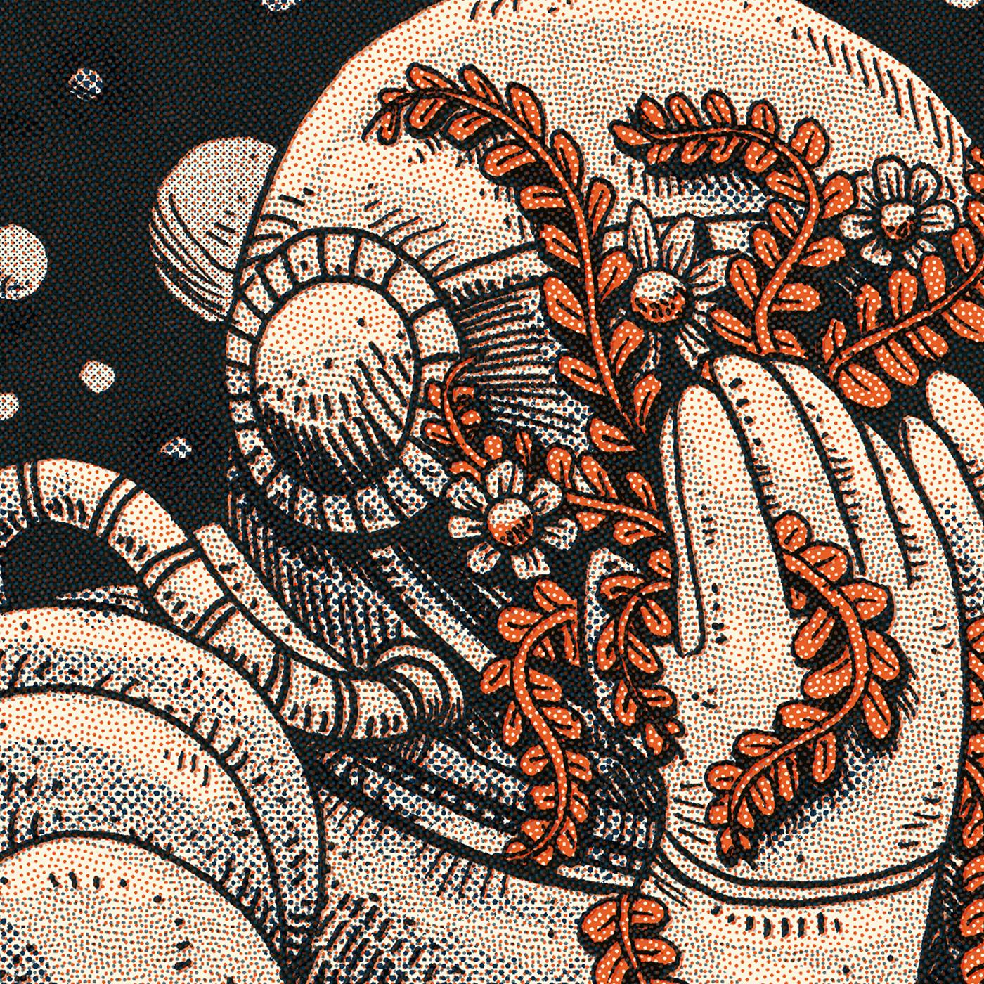 Space  astronaut cosmos universe garden skull outerspace ink sketchbook moleskine