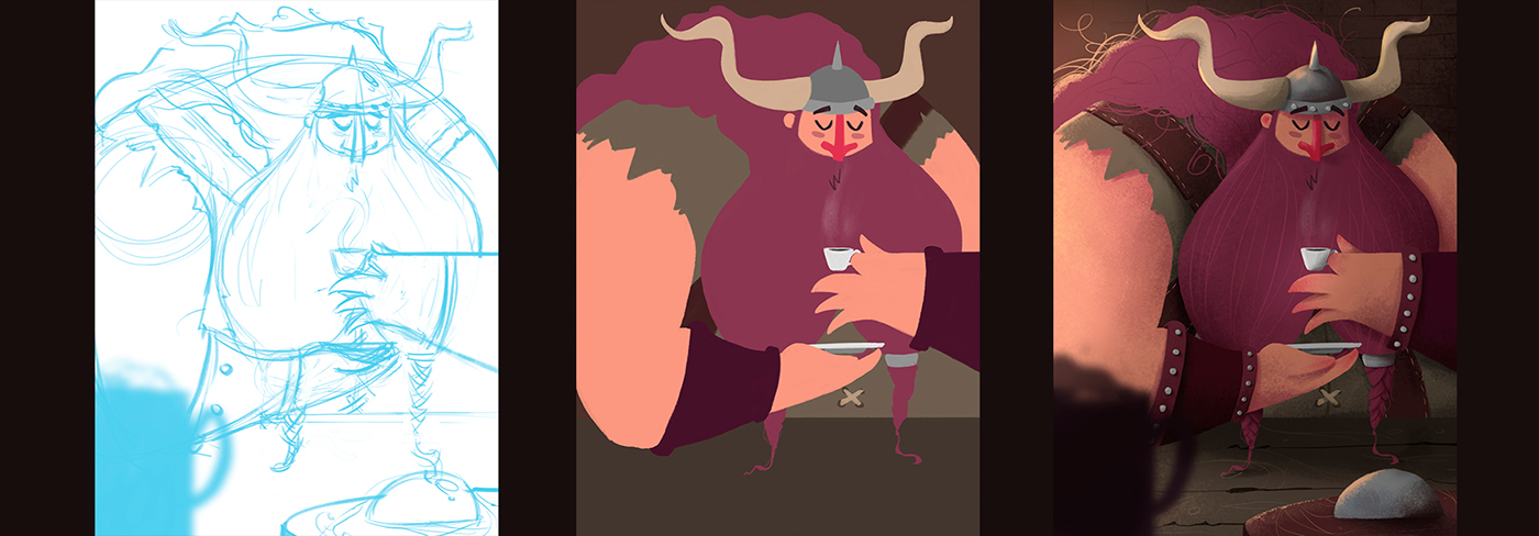 ILLUSTRATION ,Character,Character design ,Digital Art ,viking,Coffee,addicted,cute,chalk texture
