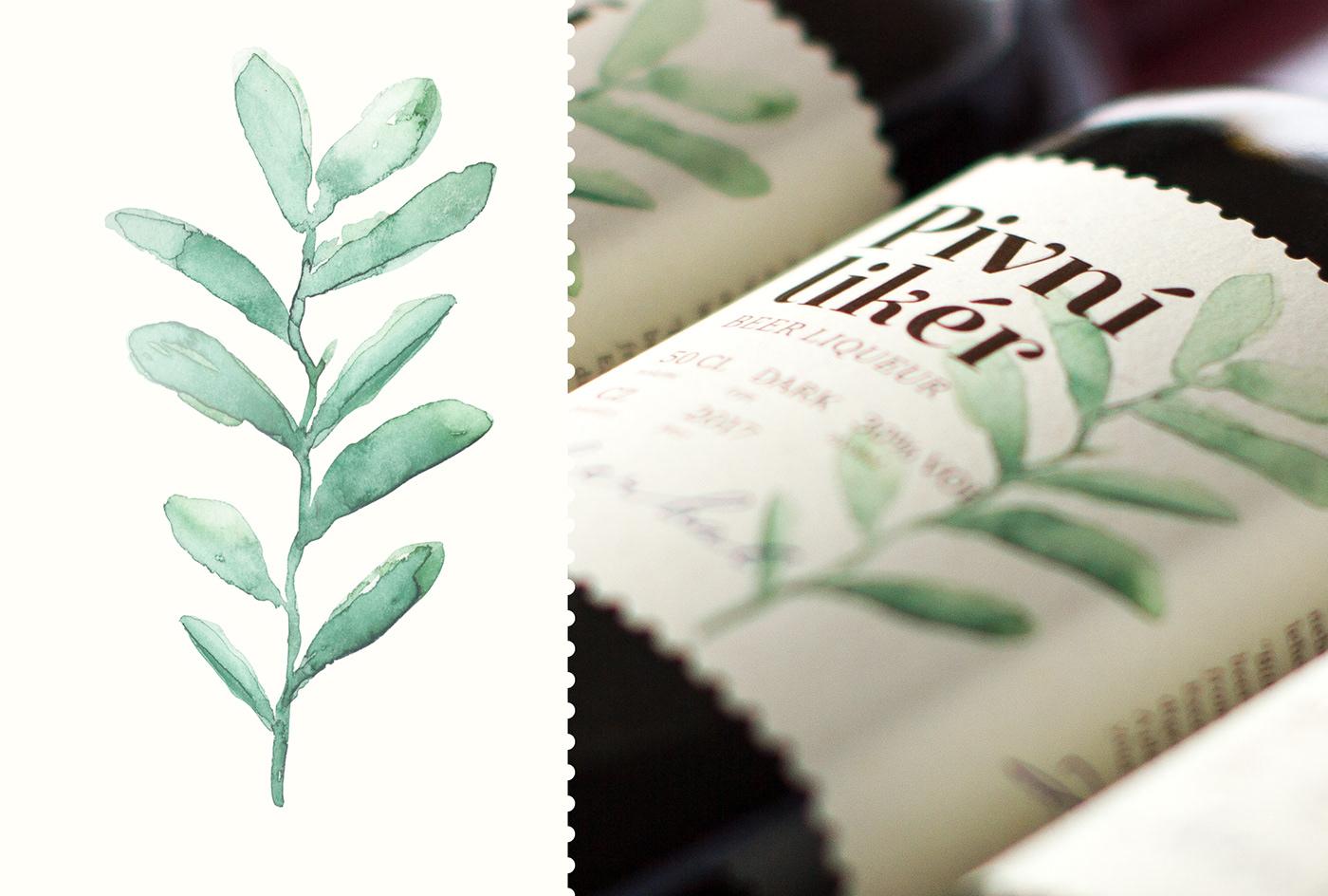 alcohol beer design Label package natural watercolor amoth amothdesign amothstudio