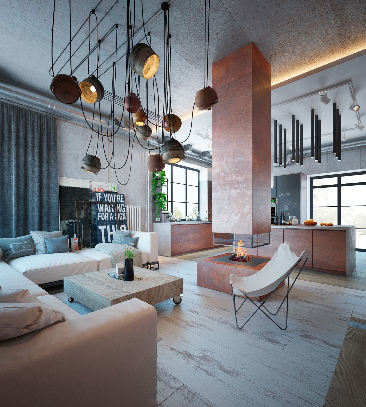 apartment design im industriellen stil loft, industrial house on behance, Design ideen