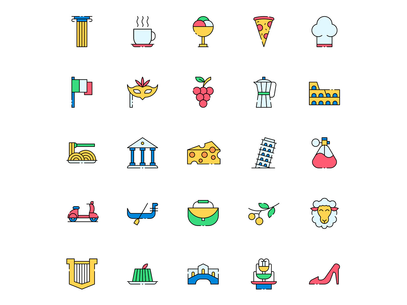 freebie icon design  icons download icons pack icons set Italy italy icon Italy Vector vector design vector icon