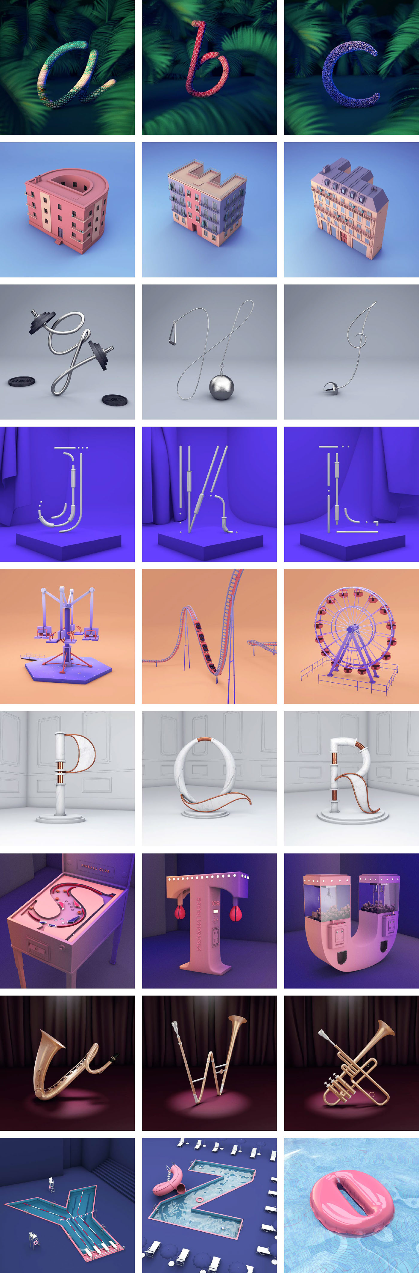 type 3D 36daysoftype 36days letters typography   alphabet everyday c4d intagram