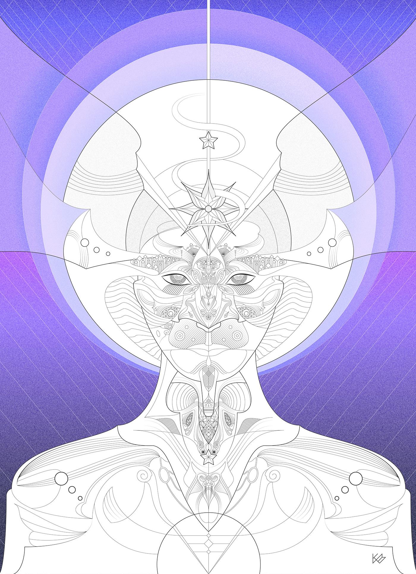 art Digital Art  fantastical fantasy fictional ILLUSTRATION  linework psychedelic surreal surrealism