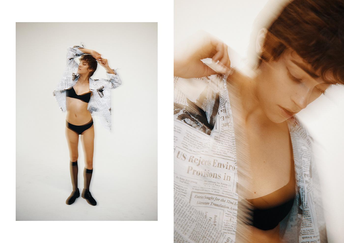 Fashion  editorial POLAROID portra studio location raw sexy strong woman