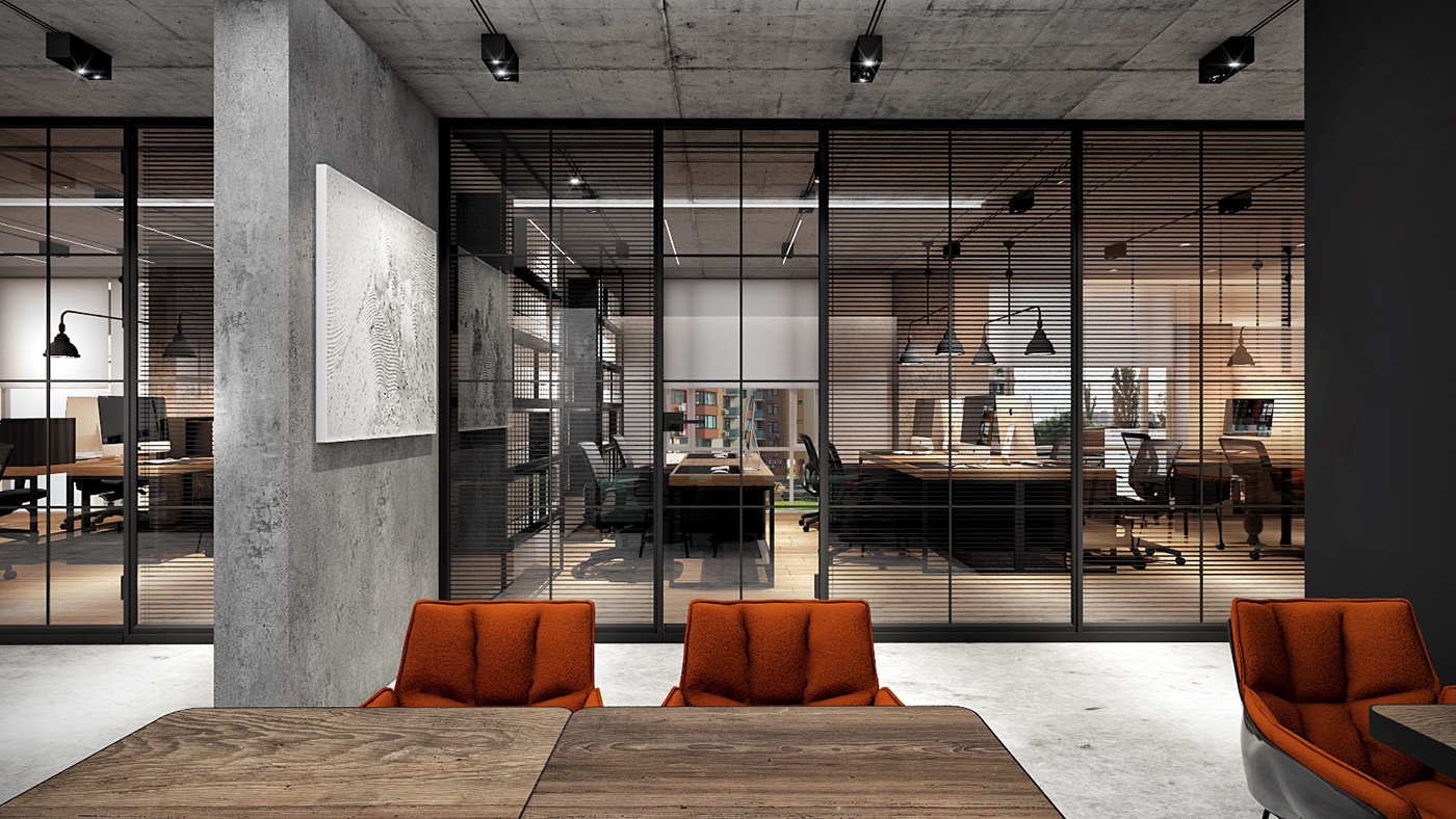 Office for engineering firm on behance - Industrial style buro ...