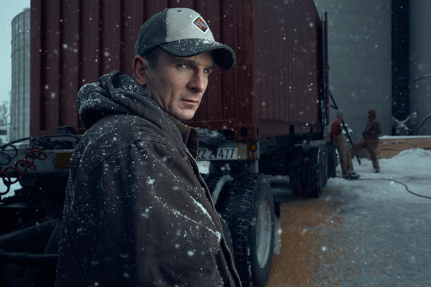 environmental portraits cinematic Trucker portraits color grade retouching  high end retouching Commercial Retouching Creative Retouching