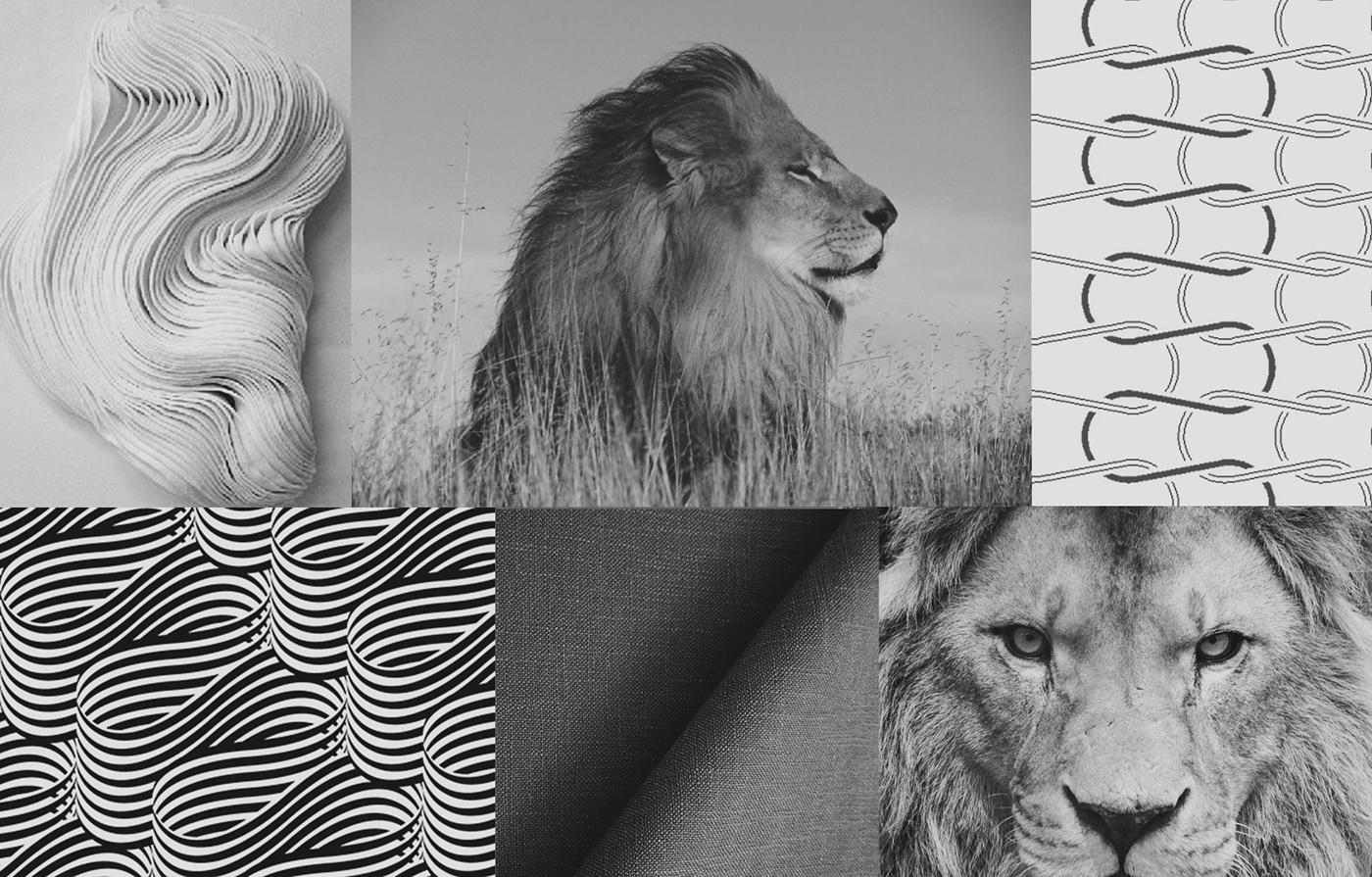 Referências para o projeto, tecidos ondulados, leões, fios de tecido entrelaçados e textura de malha