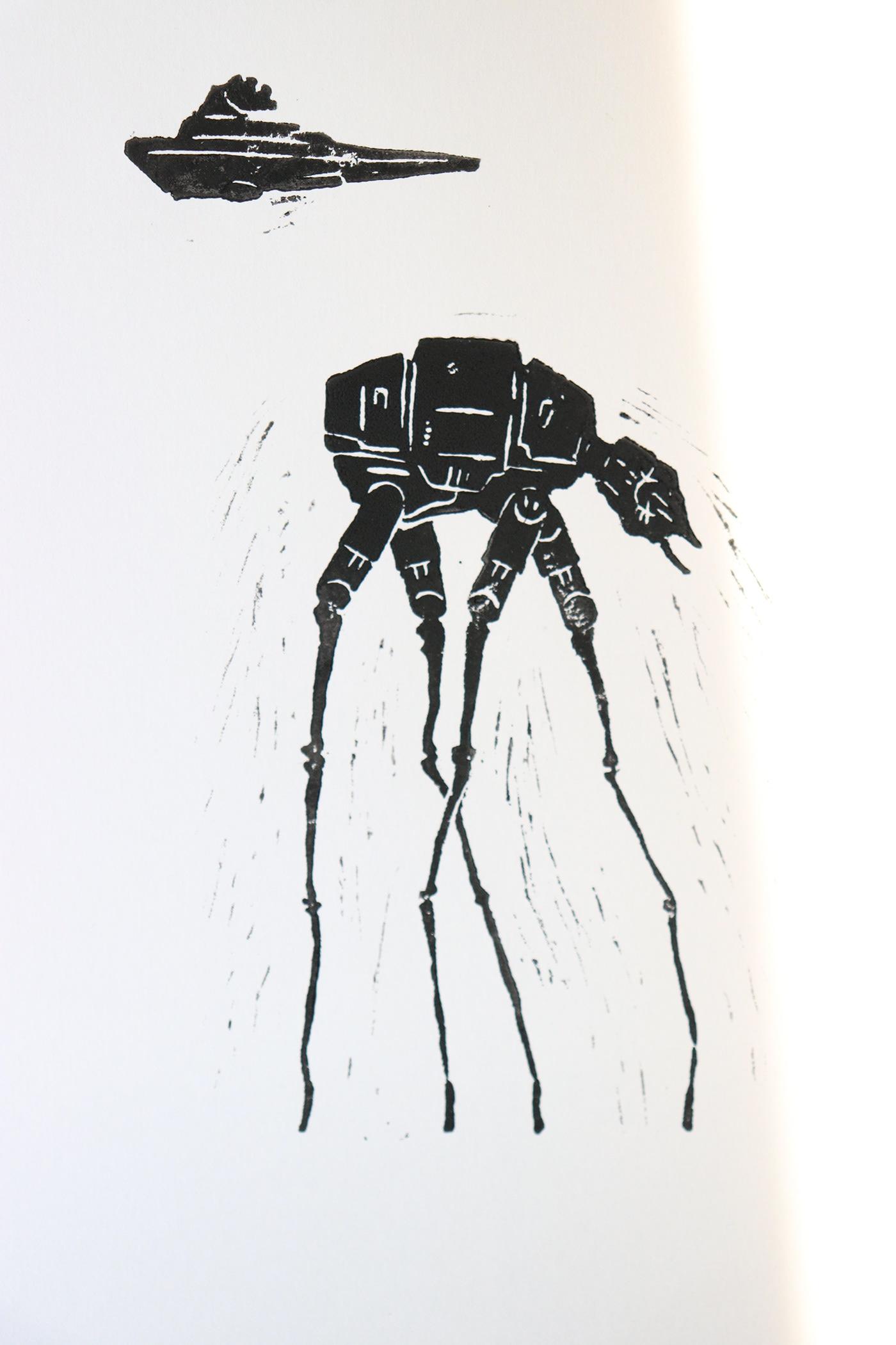 linoleum linocut ink star wars dali salvador yakaspectrum yaka art fine art