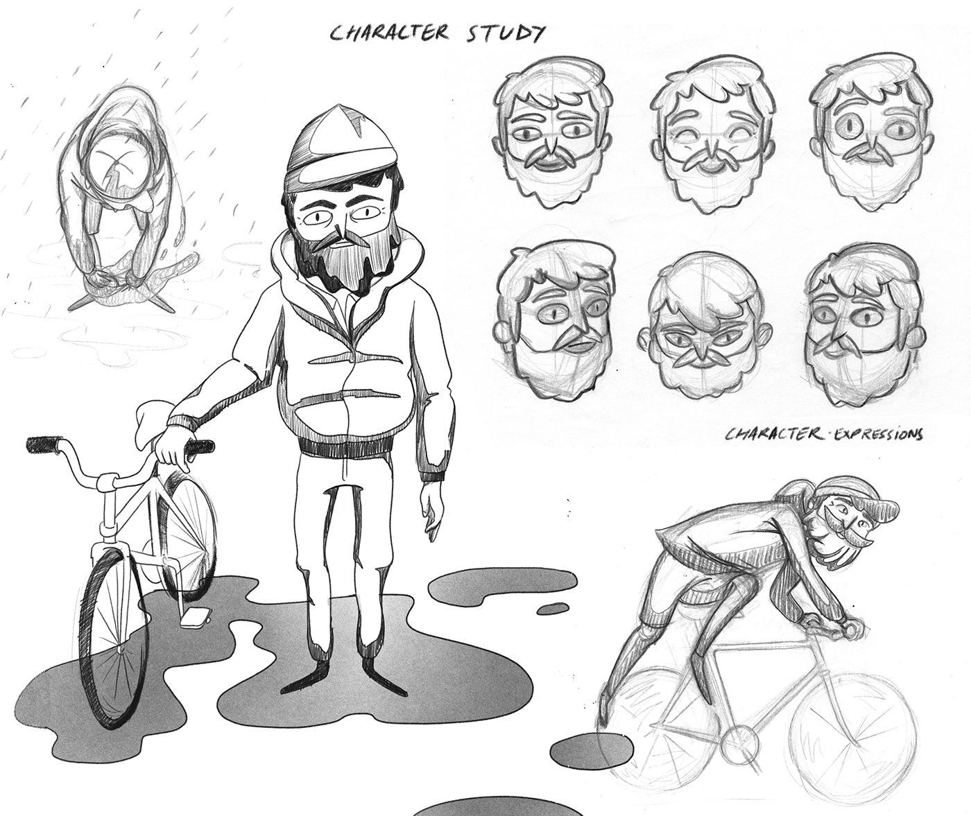 Bike Bicycle Cel Animation cell animation Character design  animation  black and white Love