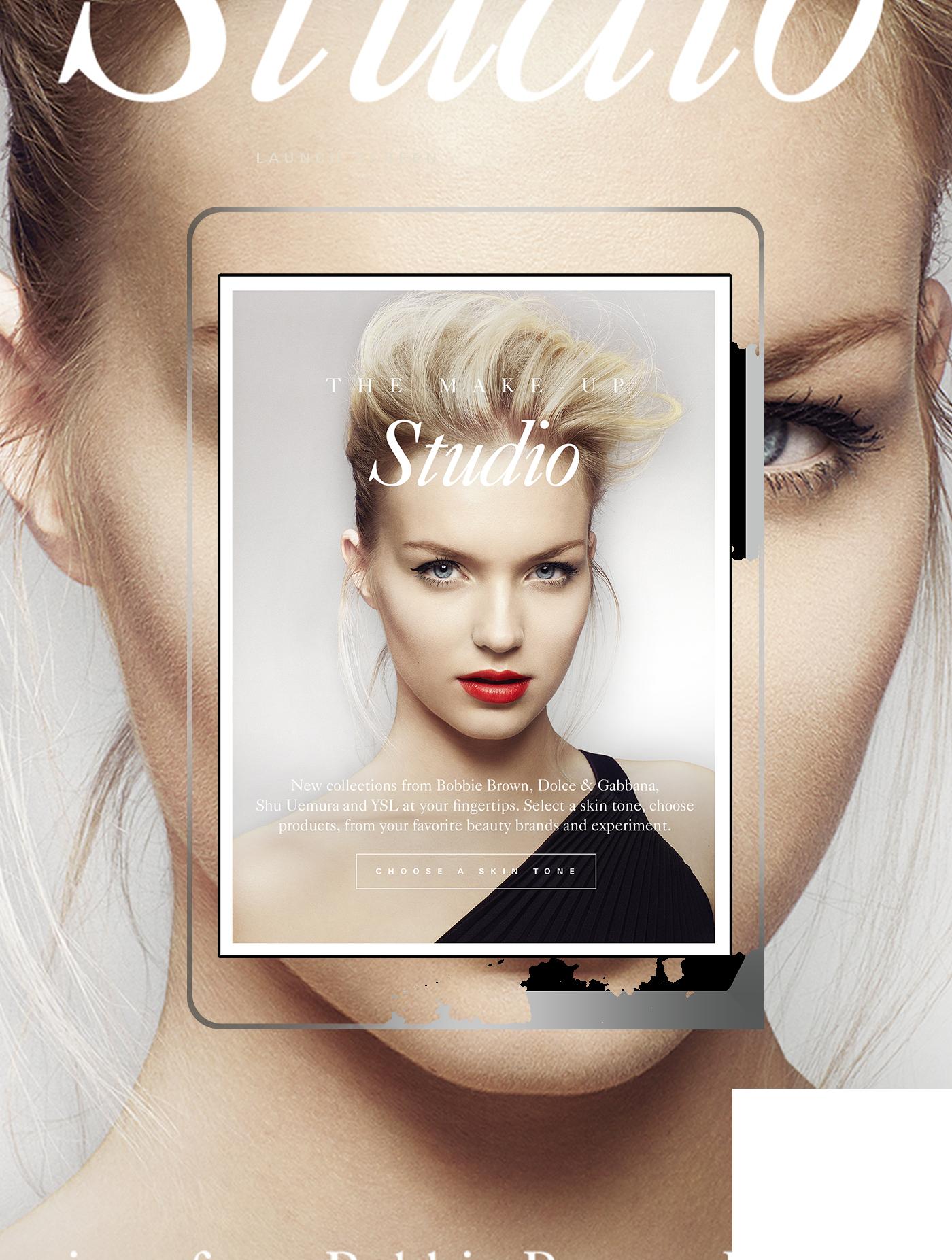 Harrods makeup make-up interactive studio app tablet beauty lips eyes chanel ysl Dior model face