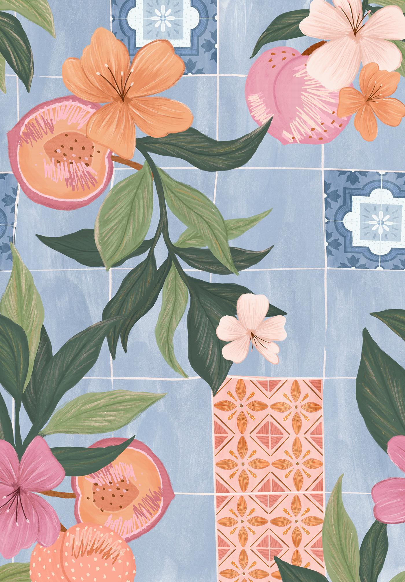 design Estampa Fashion  ILLUSTRATION  painting   pattern print surface design textile textile design