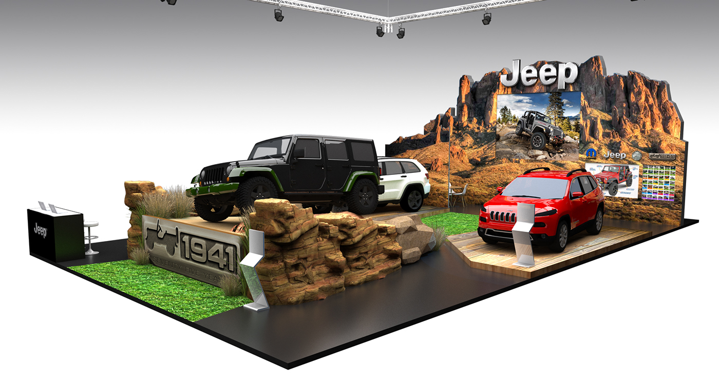 Exhibition Stand Design Decor S L : Jeep booth design for pims on behance
